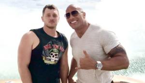 "Adam Alderks on set with Dwayne ""The Rock"" Johnson."